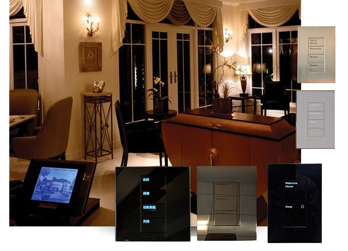 Living Room With Homeworks Applied With Different Keypad Controls